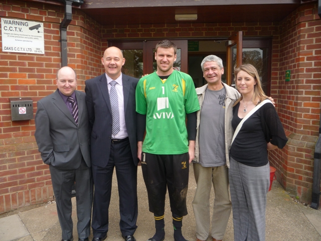 Anglian staff with goalkeeper David Marshall