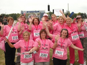 Anglian Home Improvements staff at the finish line