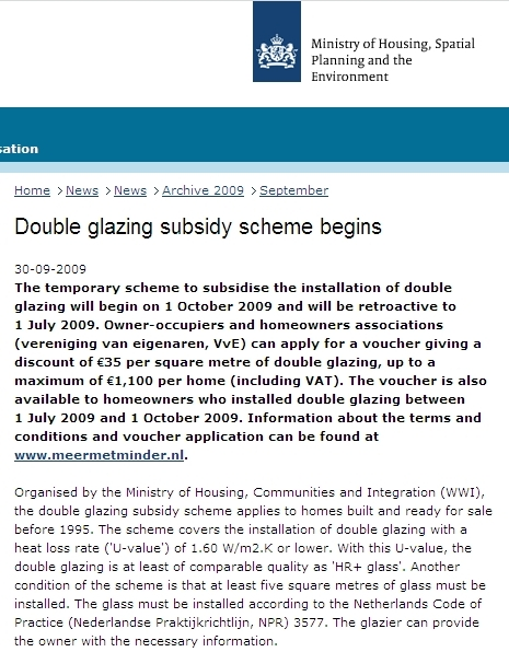 Dutch launch temporary Double Glazing Scheme