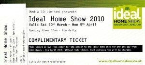 Ideal Home Show ticket example