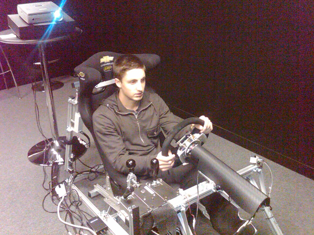 Jack on the racing simulator at Silverstone