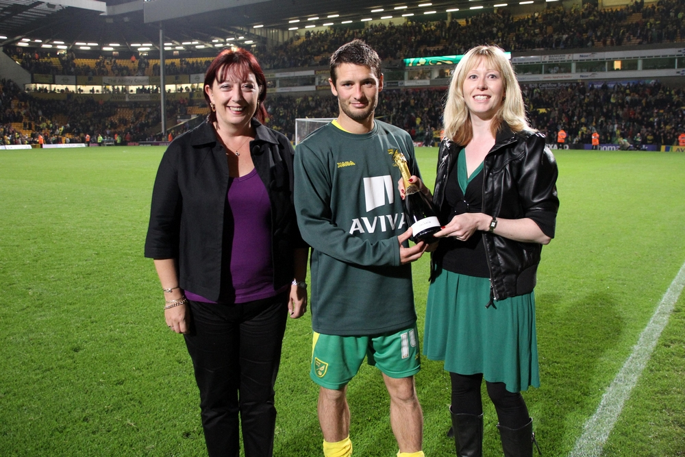 Wes Hoolahan being presented the MOTM award by Keeley Richards and Angela Smith