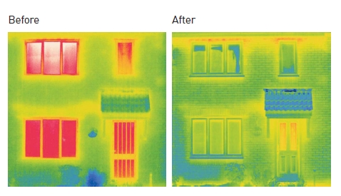 Thermal images show how Anglian windows improve a homes thermal efficiency