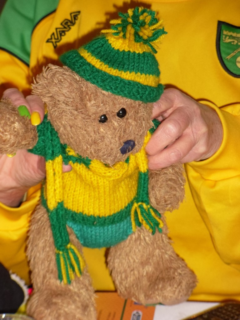 Norwich City Bear celebrating the win!
