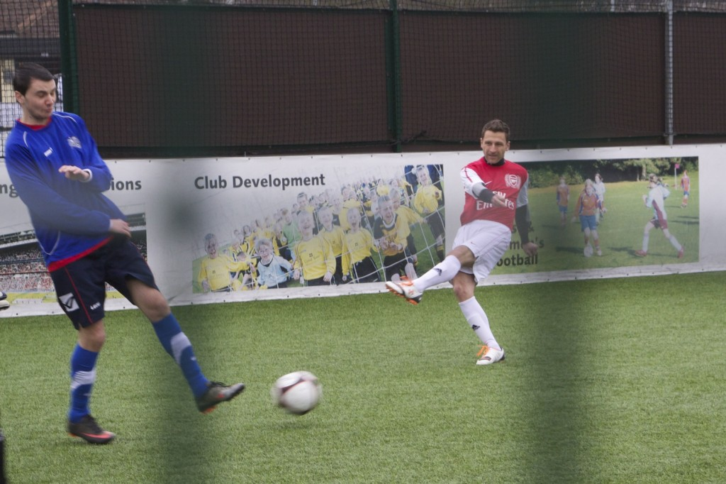 Darren shooting at goal