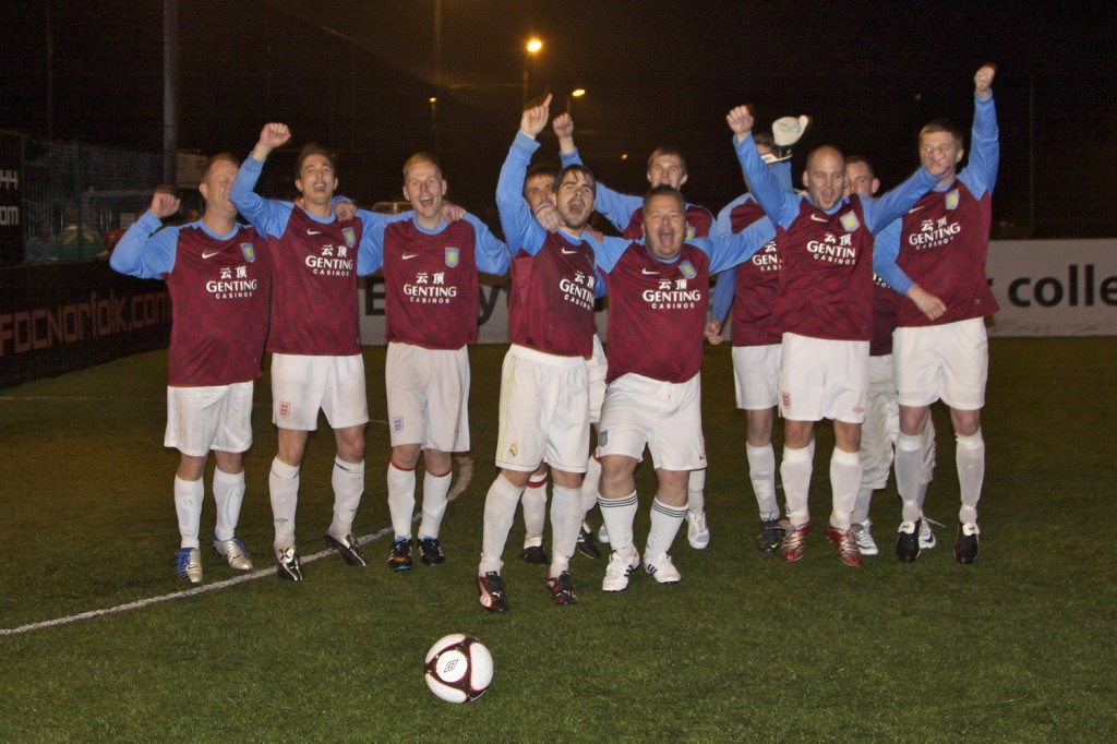 Aston Villa celebrating their win