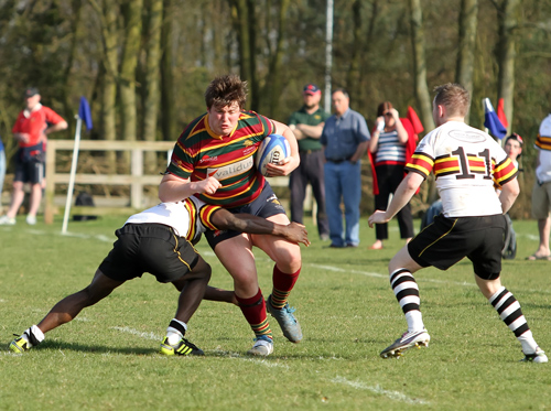 Norwich player driving for the try line