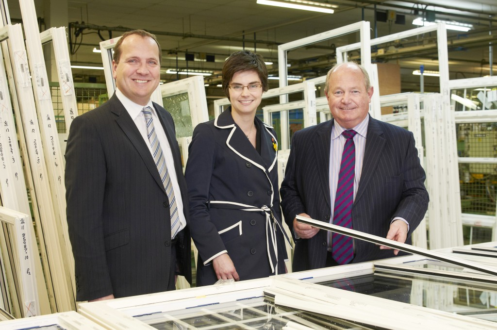 Peter Mottershead CEO Anglian Home Improvements, Chloe Smith MP and Steve Pollard, Anglian Building Products