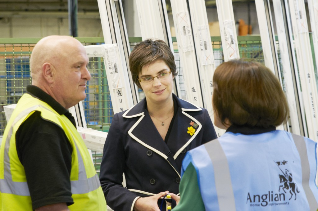 Chloe Smith MP talking to Melanie McDonald and Andrew Reeve