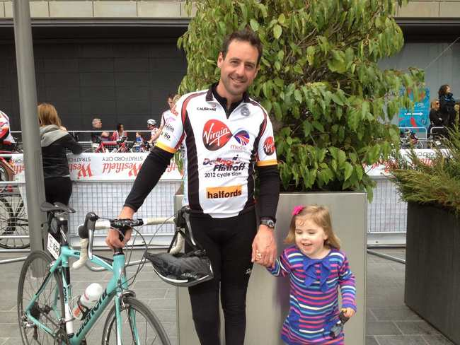Chris and his daughter Emelia at the end of the race