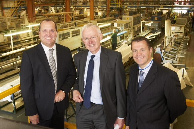 Norman Lamb, Peter Mottershead & James Wilson in the Anglian factory