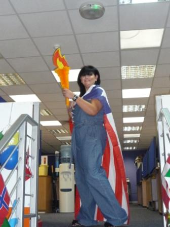 Liberia being represented in the Olympic torch relay