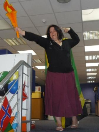 Janet representing Jamaica with a Usain Bolt style pose