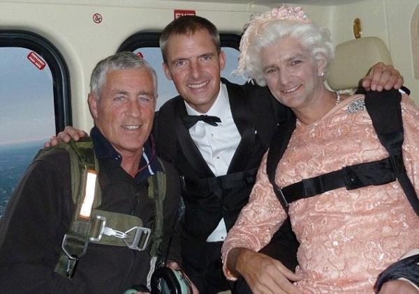 James Bond and the Queen stuntmen before they jumped out of the helicopter