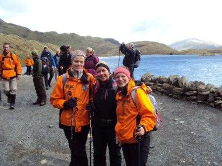 Mhairi, Amy & Caroline prepared for Snowdon