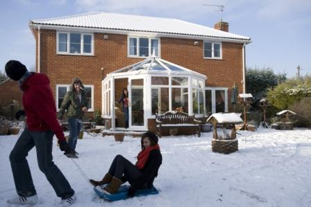 A snowy Anglian conservatory