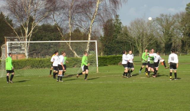First half - Anglian Knights defending a corner against Frettenham