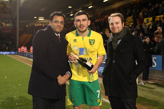 Robert Snodgrass was named the Anglian Man of the Match against Spurs