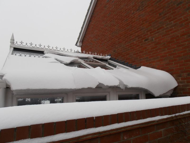 Snowy conservatory roof