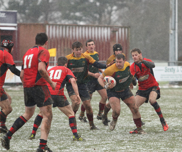 The snowy conditions were tough to play in for Norwich