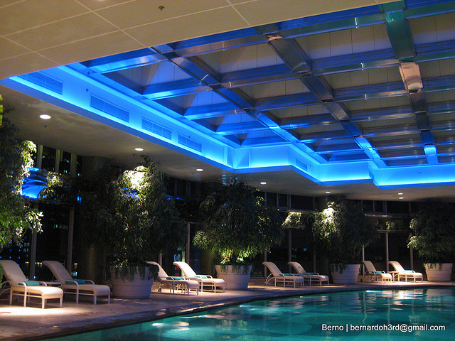 Blue lit swimming pool