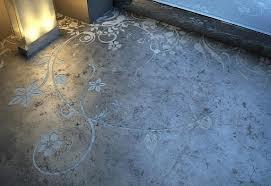 Etched concrete flooring