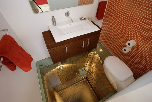 Toilet with glass floor