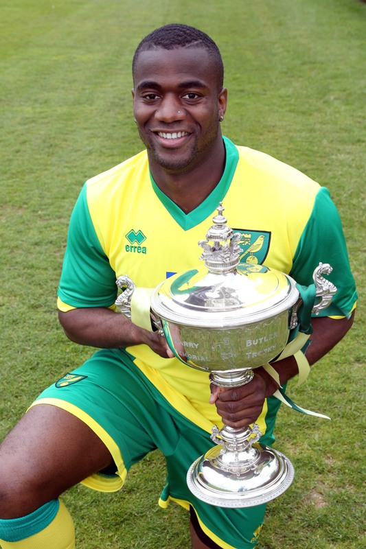 Bassong with his Anglian Player of the season trophy