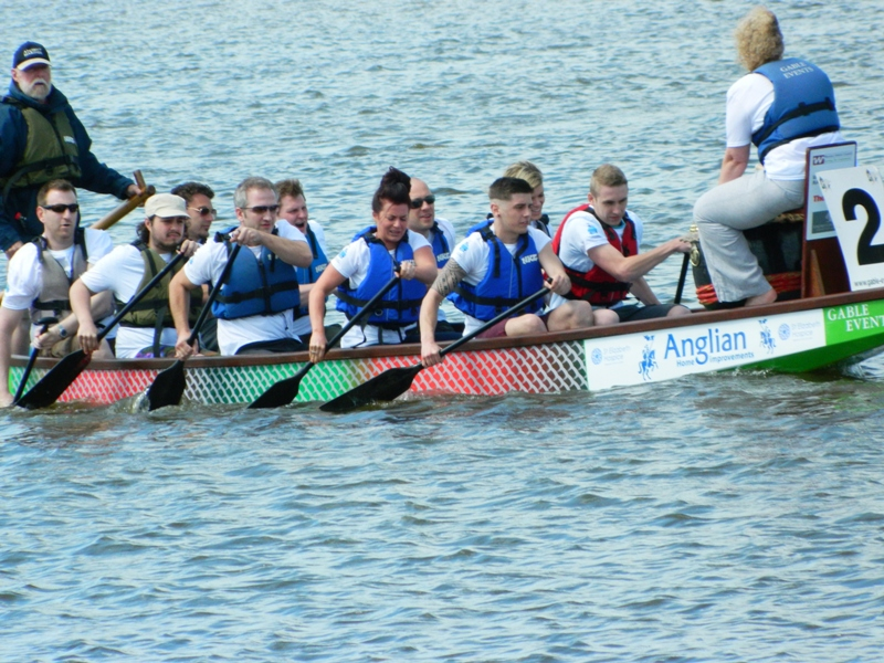 Anglian Nautical Knights rowing out for start of race