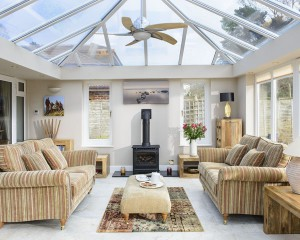 Anglian orangery with a full glass roof