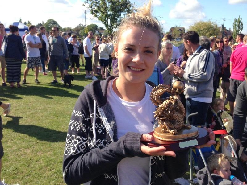 Sarah with the award