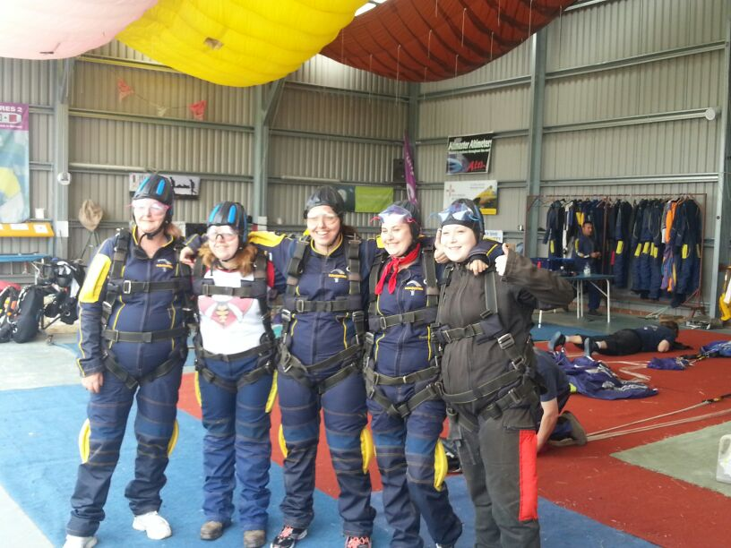 The Anglian crew kitted up, ready to jump