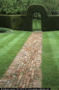 Brick path through lawn