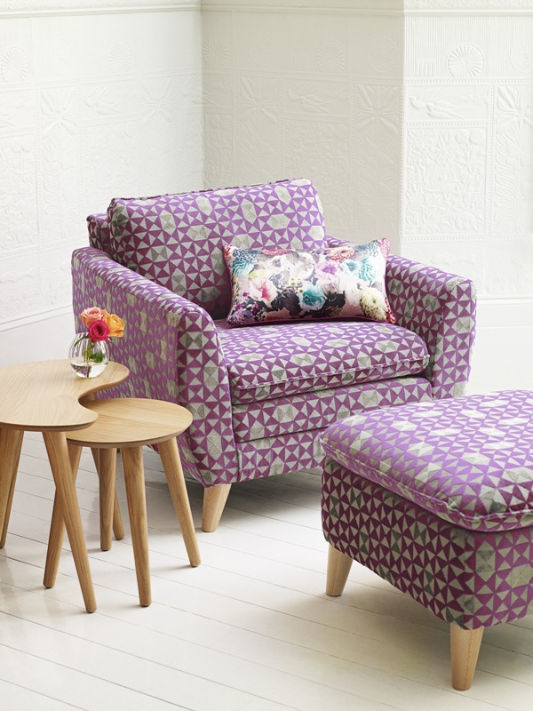Debenhams purple chair and foot stool