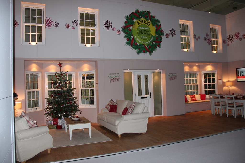Inside the Anglian stand at Ideal Home Show at Christmas