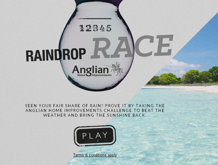 Raindrops race by Anglian