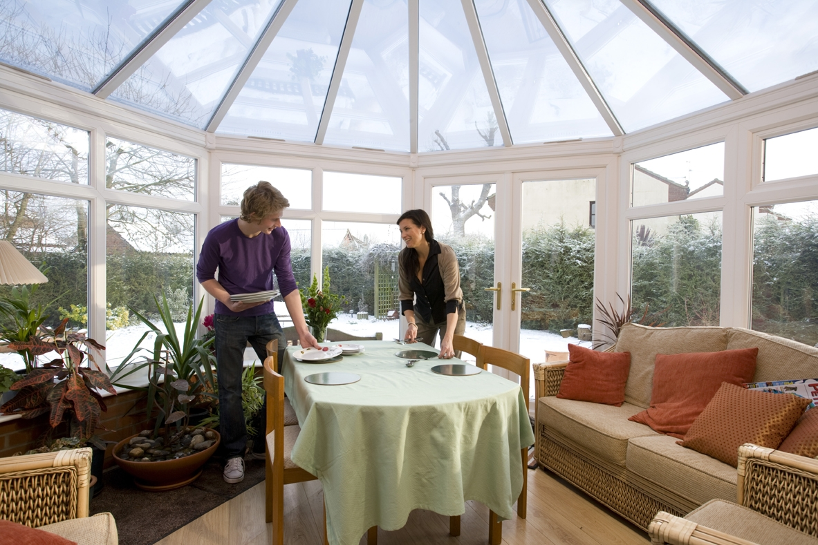 Cosy conservatory in winter