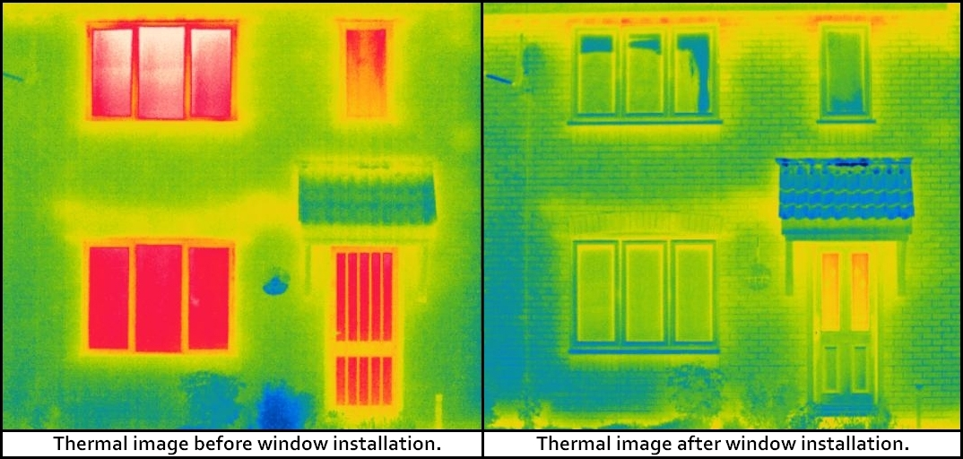 Thermal image of a home before & after Anglian window installation