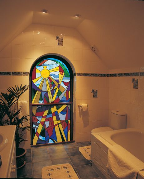 Curved stain glass window