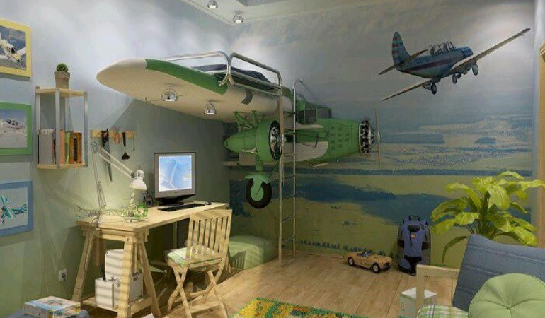 These crazy childrens beds will make you want to be a kid for Boys airplane bedroom ideas