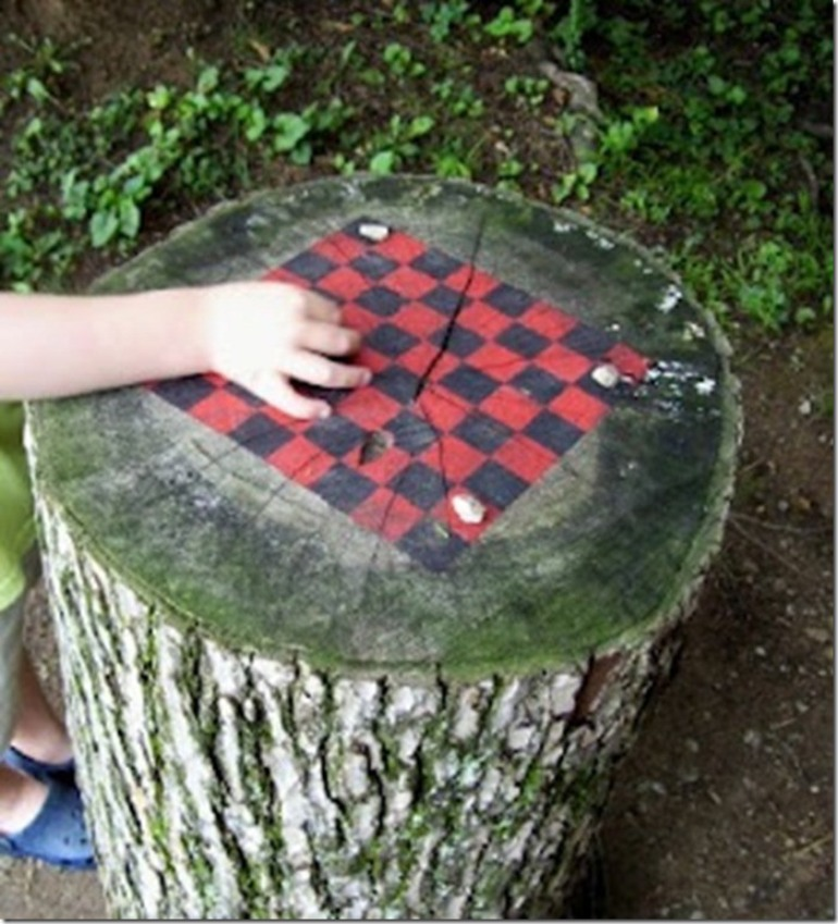 Chess board tree stump
