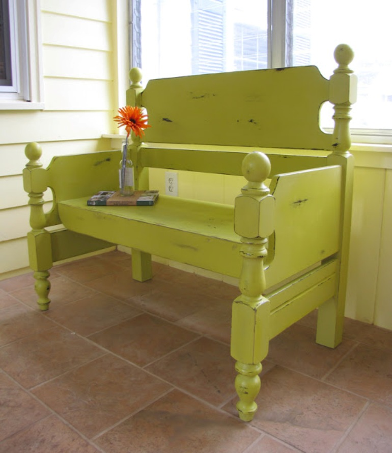 Green bench made from bedGreen bench made from bed