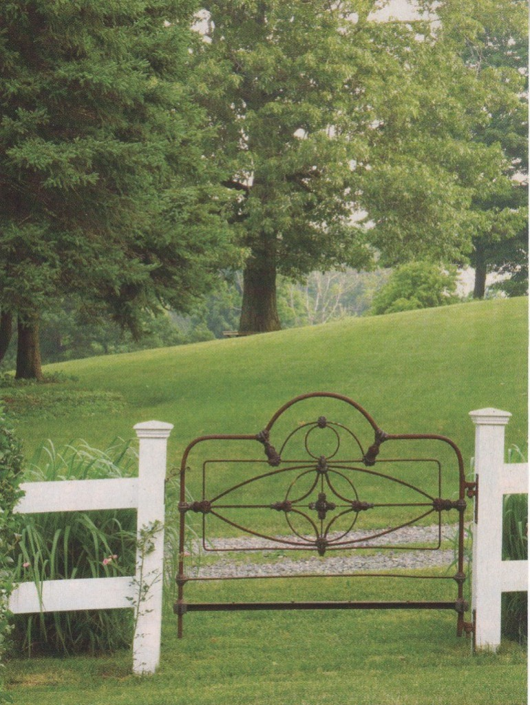 Old bed as a gate