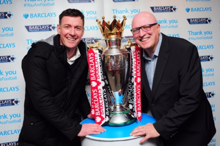 Chris Sutton with Bryan Gunn and the Premier League Trophy