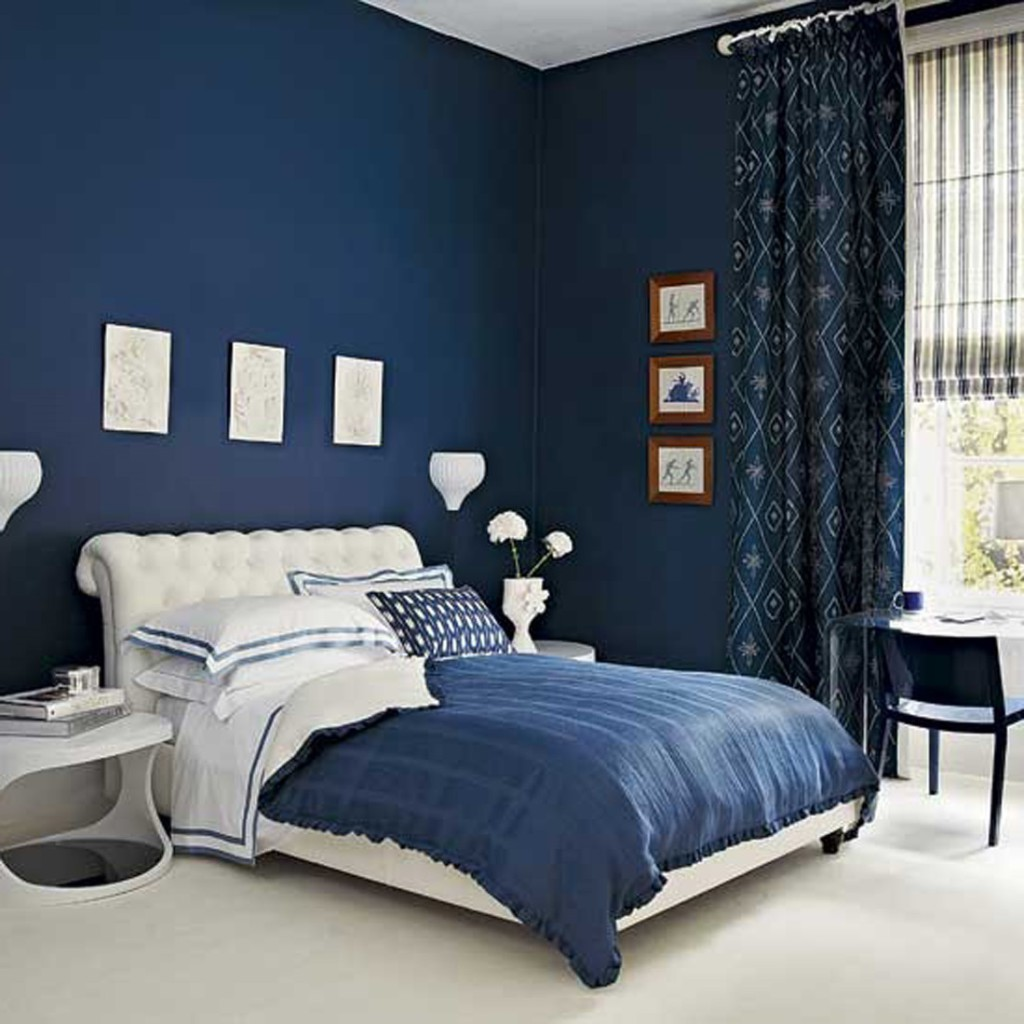 Navy room with blackout curtains