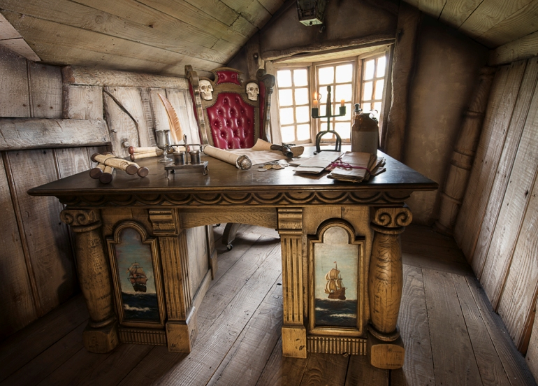 Desk inside a house on the Pirate Island