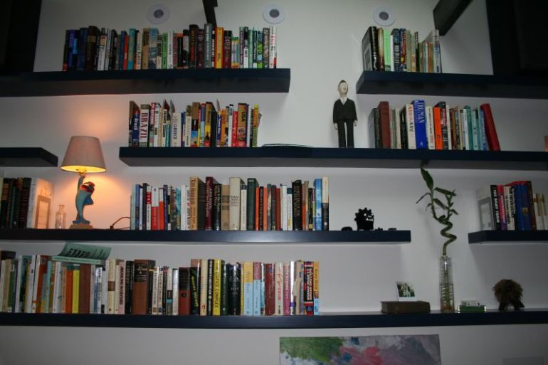 Floating shelves with accessories