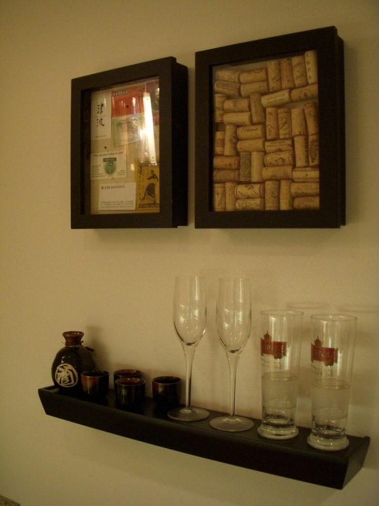floating shelves with wine and beer glasses