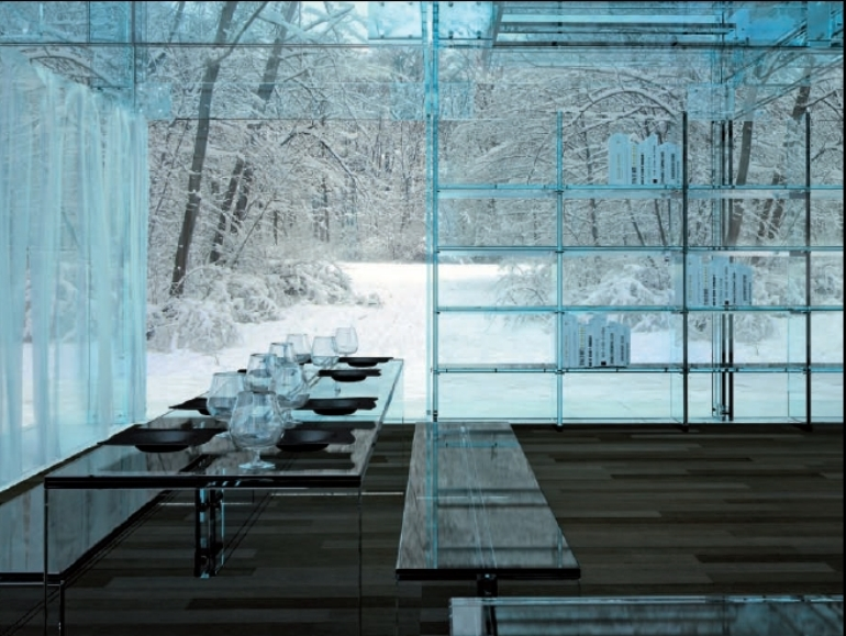 Dining area in glass house