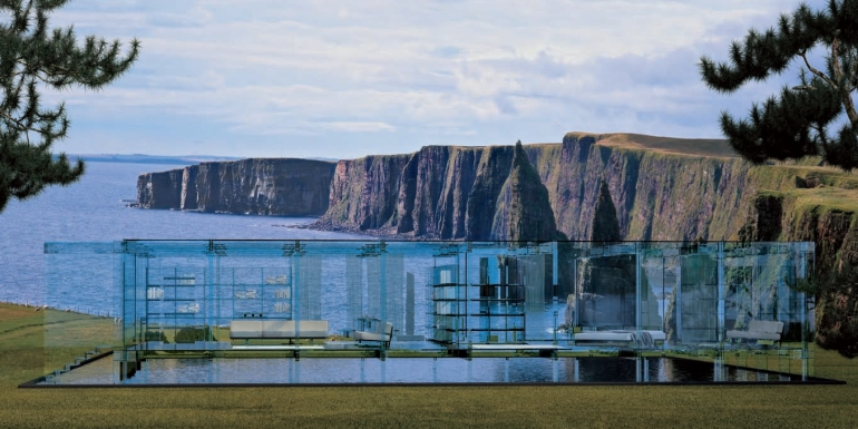 Glass house on cliff edge